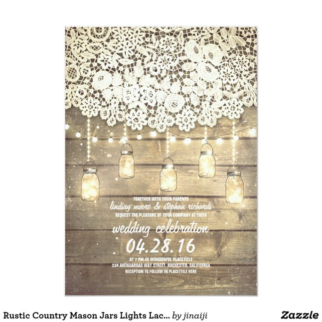 Rustic Country Mason Jars Lights Lace Wood Wedding