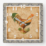 Rustic Country Rooster Elegant Damask Ornate Square Wall Clock