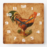 Rustic Country Rooster Square Wallclock