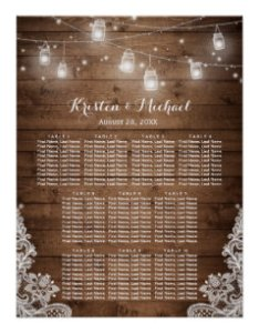 Rustic country string lights wedding seating chart also charts zazzle rh