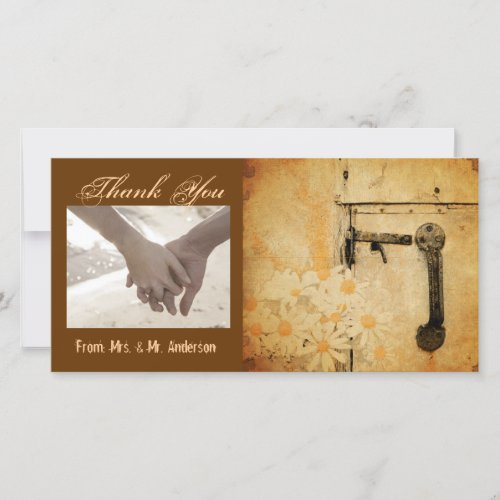 rustic country summer daisy wedding thank you card
