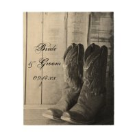 Rustic Cowboy Boots Country Wedding Wood Canvas Wood Wall ...