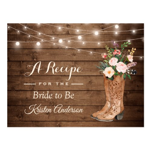 Rustic Cowgirl Boots Flowers Bridal Shower Recipe Postcard