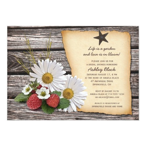 Rustic Daisy Strawberry Bridal Shower Invitation