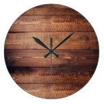 Rustic dark barn wood pattern country large clock
