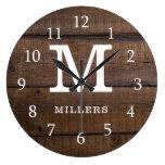 Rustic Dark Brown Wood Monogrammed Family Name Large Clock