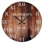 Rustic dark wood family name farmhouse large clock