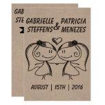 Rustic Doodle Lesbian Wedding Invitation