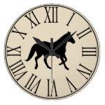 Rustic Elegant Black Horse Silhouette Large Clock