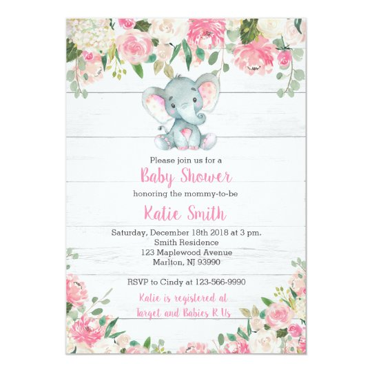 Rustic Elephant Baby Shower Invitations For A