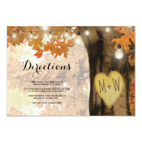 Rustic Fall Autumn Tree Lights Wedding Directions Card