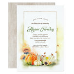Rustic Fall Harvest Pumpkin Sunflower Birthday Invitation
