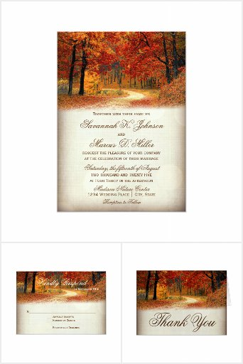 Red And Gold Autumnal Leaves Wedding Card