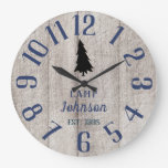 Rustic Family Pine Tree Large Clock
