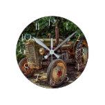 Rustic farm tractor round clock