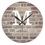 Rustic Farmhouse Brick Wall Family Name Monogram Large Clock
