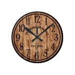 Rustic Farmhouse Dark Wood Famliy Name Round Clock