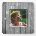 Rustic Farmhouse Gray Wood Custom Photo Square Wall Clock