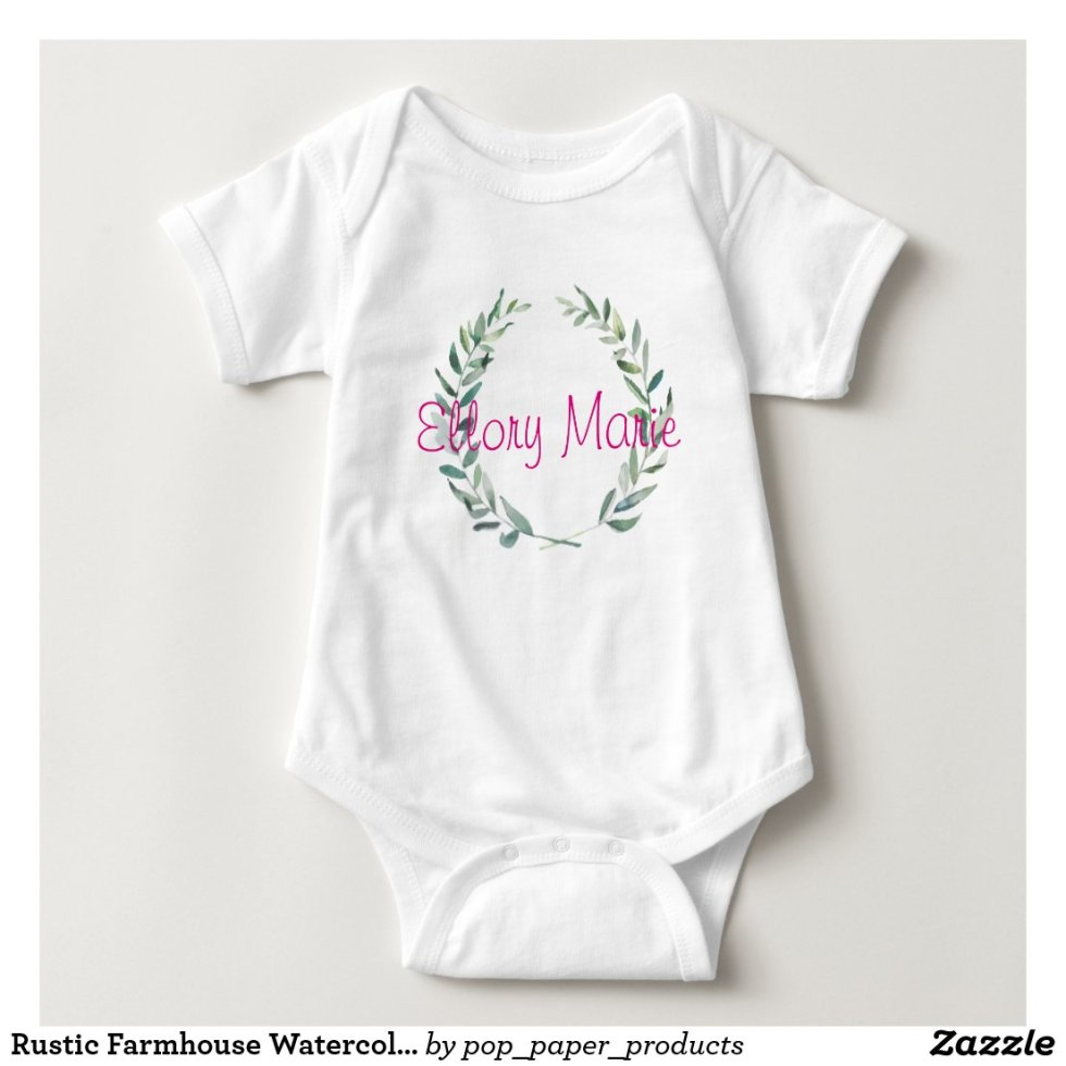 Rustic Farmhouse Watercolor Magnolia Wreath Design Baby Bodysuit