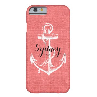 Rustic Faux Burlap Vintage Anchor Monogram Barely There iPhone 6 Case