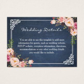 Rustic Fl Blue Chalkboard Wedding Insert Card