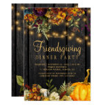 Rustic floral brown barn wood friendsgiving party invitation