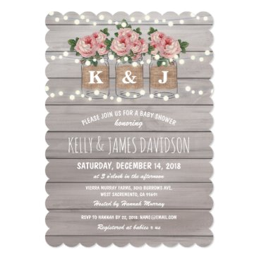 Rustic Floral Couple Baby Shower Card