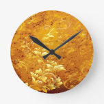 rustic,floral,gold,wavy,chic,elegant,pattern,vinta round wall clock