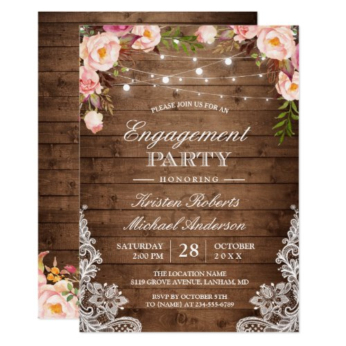 Rustic Floral Lace String Lights Engagement Party Invitation