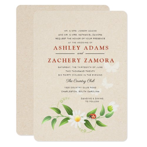 Rustic Floral Ladybug Butterfly Wedding Invitation