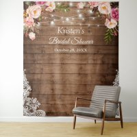 Rustic Floral String Lights Bridal Shower Backdrop ...