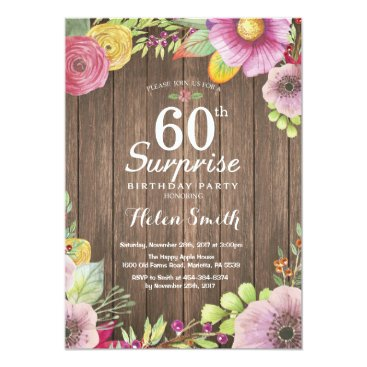 Rustic Floral Surprise 60th Birthday Invitation