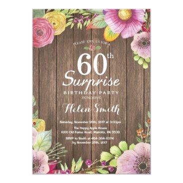 Rustic Floral Surprise 60th Birthday Invitation