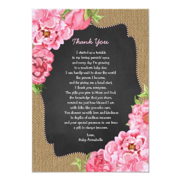 Rustic Girl Pink Floral Baby Thank you note Card
