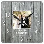 Rustic Gray Wood Wedding Anniversary Custom Photo Square Wall Clock