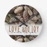 Rustic Holiday Love and Joy Pine Cone Round Clocks