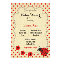 Rustic Ladybug Baby Shower Invitation