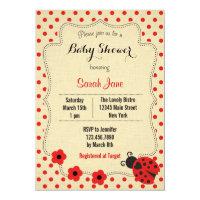 Rustic Ladybug Baby Shower Invitation