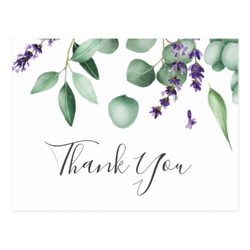 Rustic Lavender and Eucalyptus Thank You Postcard