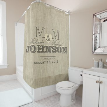 Rustic Linen and Heart Monogram Wedding Shower Curtain