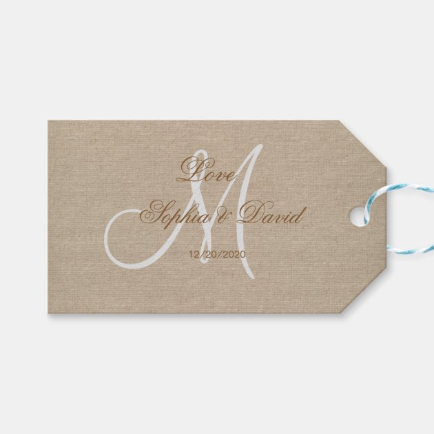 Rustic Linen Canvas Wedding Monogram Initial Gift Tags