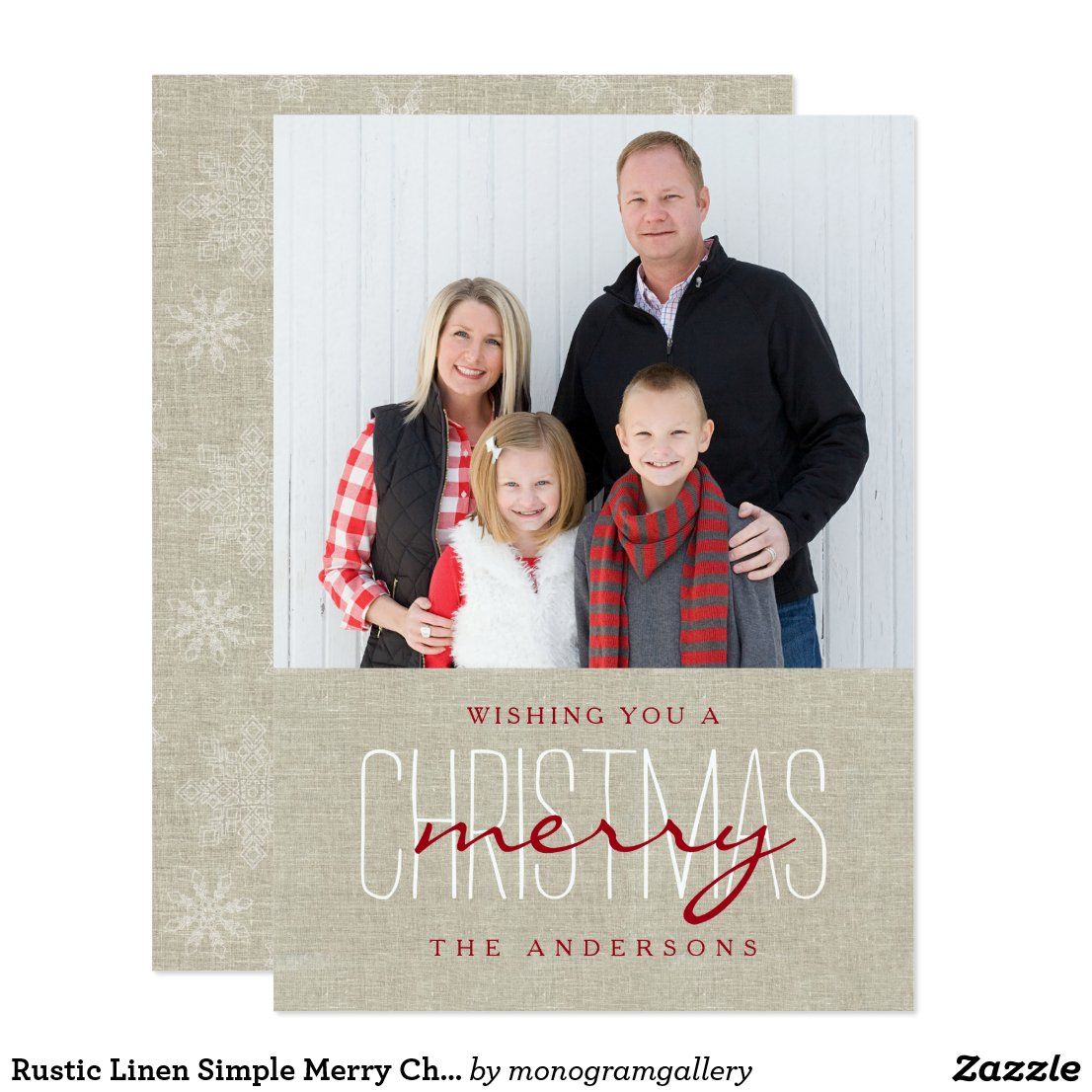 Rustic Linen Simple Merry Christmas Holiday Photo Card