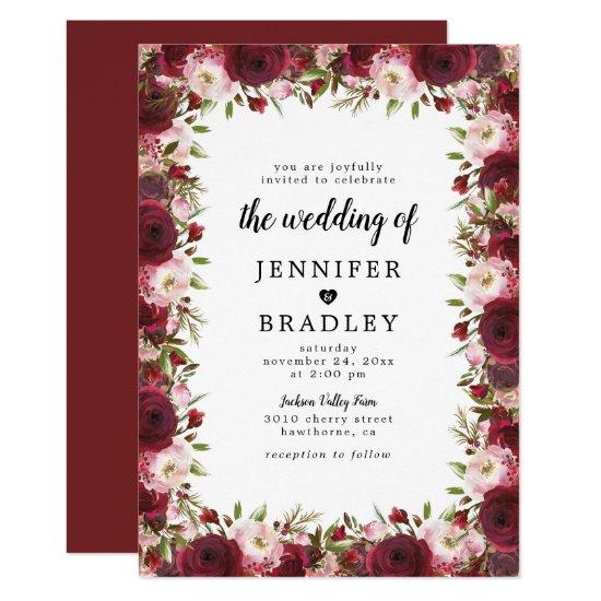 Rustic Marsala Burgundy Flowers Wedding Invitation