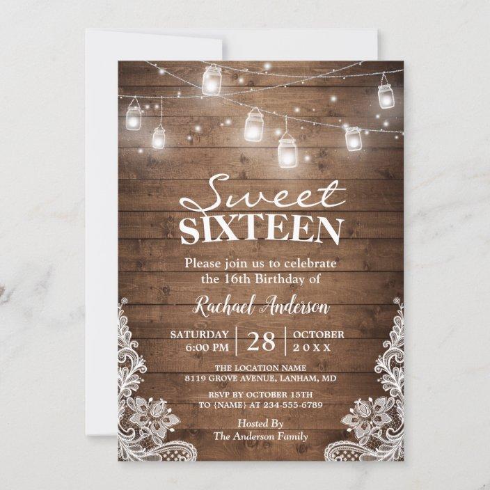 rustic mason jar lights sweet 16 birthday party invitation zazzle com