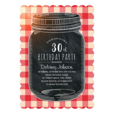 Rustic Mason Jar Picnic 30th Birthday Party Card