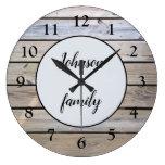 Rustic Modern Elegant Wood Family Name Large Clock