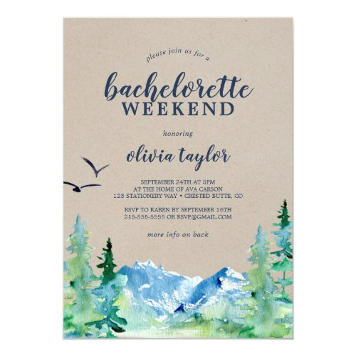 Rustic Mountain Bachelorette Weekend with Details Invitation