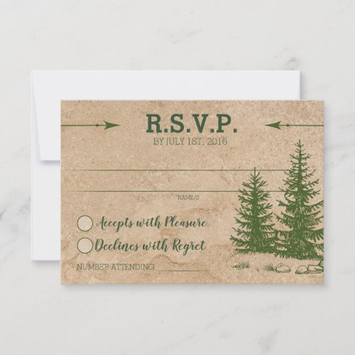Rustic Mountain Scenic RSVP Card