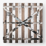 Rustic Multi Wood White & Brown Barn Door Square Wall Clock