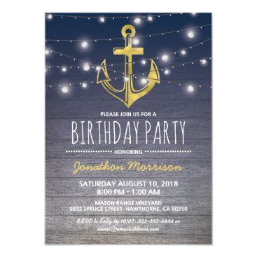 Rustic Nautical Blue Gold Mens Birthday Party Card